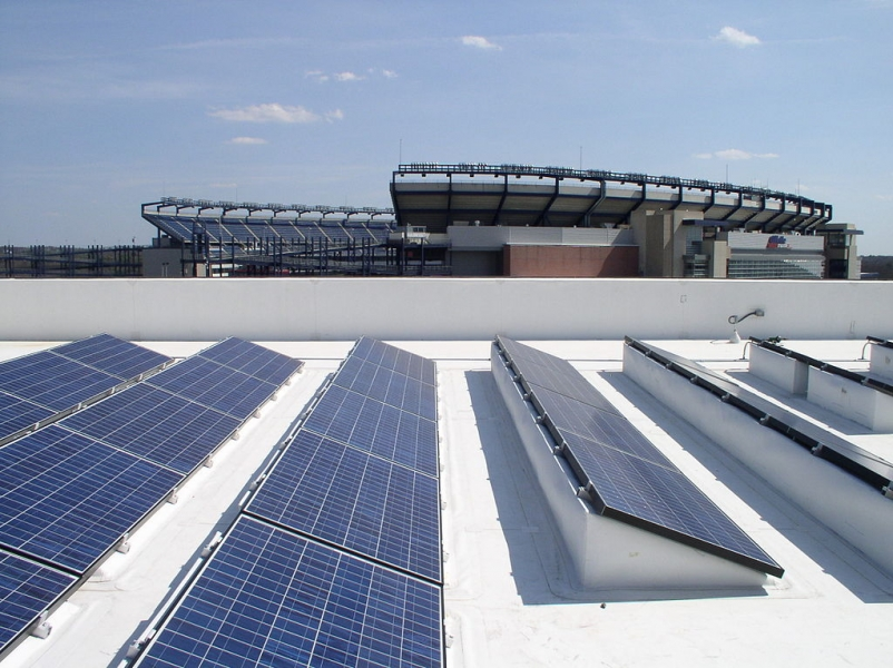525kW BIPV CoolPly commercial roofing system which provides clean energy to the
