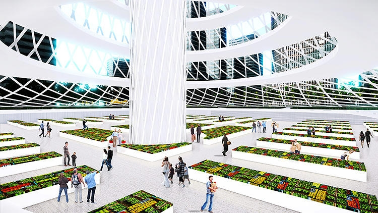The complex is envisioned with public garden space. Renderings courtesy of April
