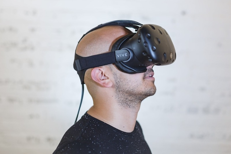 Man with a VR headset on