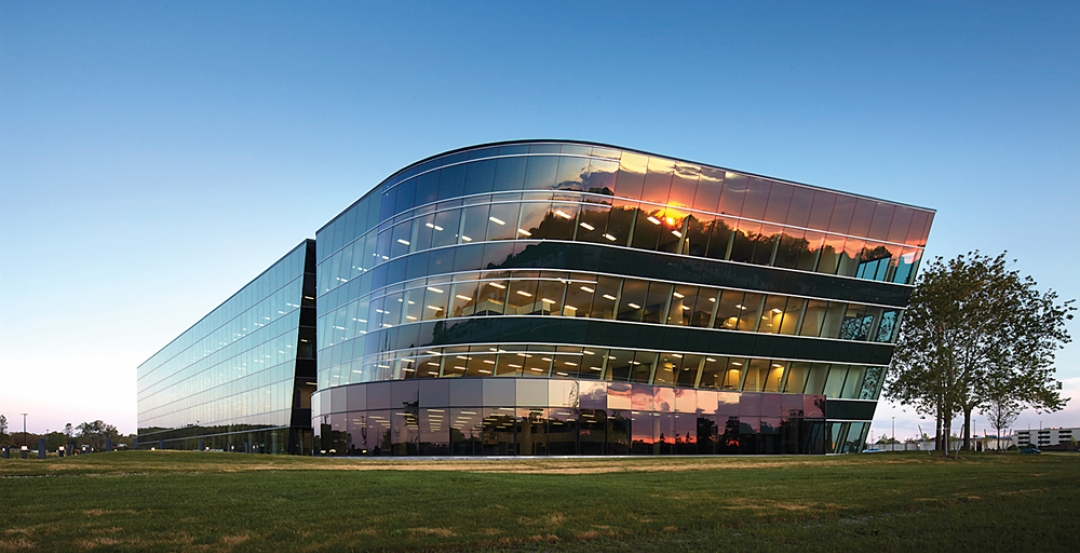 Completed in March 2012, the sleek office and prototype facility for global defe