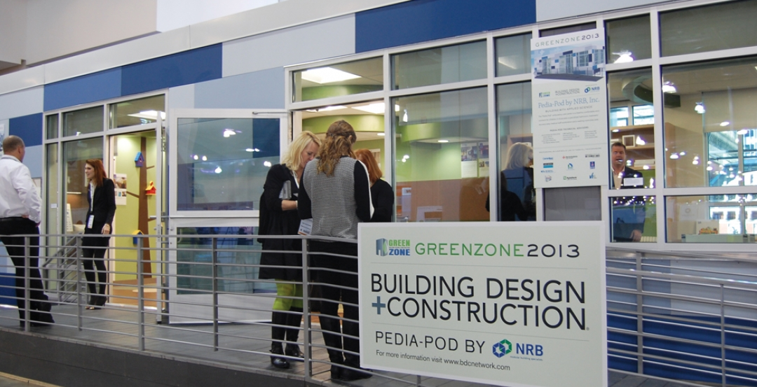 Pedia-Pod was clad in architectural wall panels in varying shades of blue, creat
