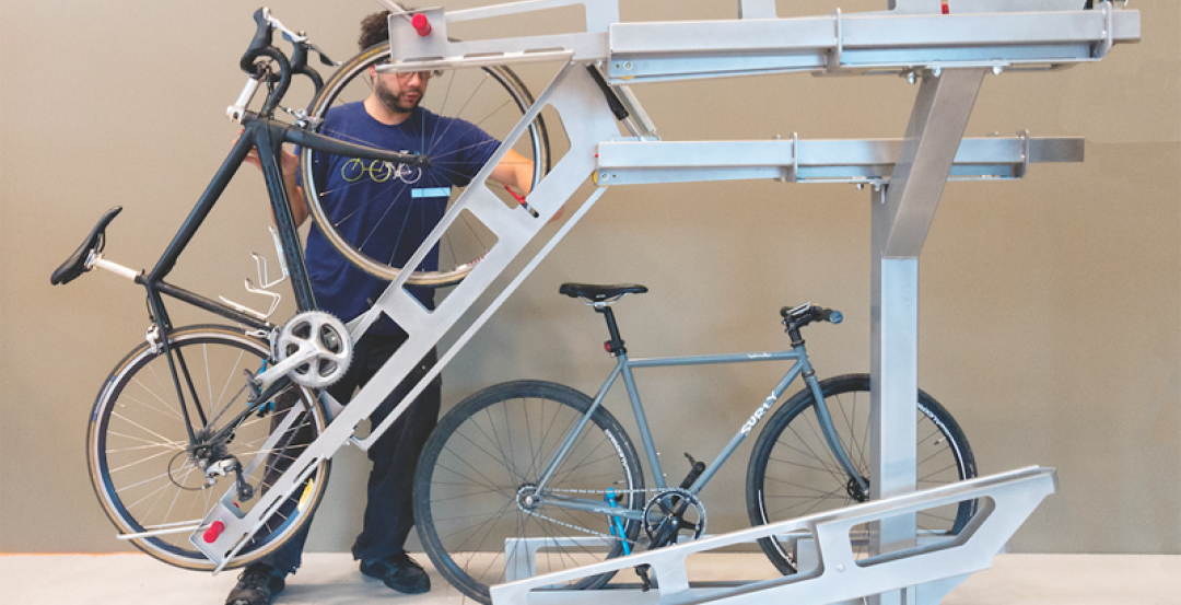 The Dero Decker two-tiered bike parking system
