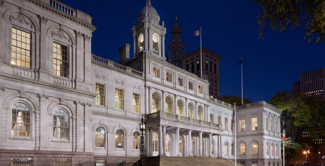 View of the restored south elevation of New York City Hall. The renovation is th