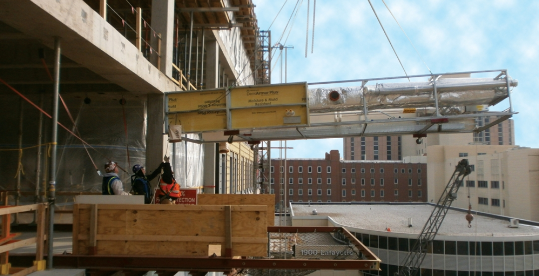 By employing advanced prefabrication techniques, the Building Team for the 840,0