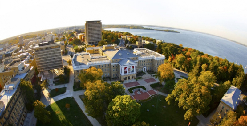 An aerial photograph of the UW Madison campus