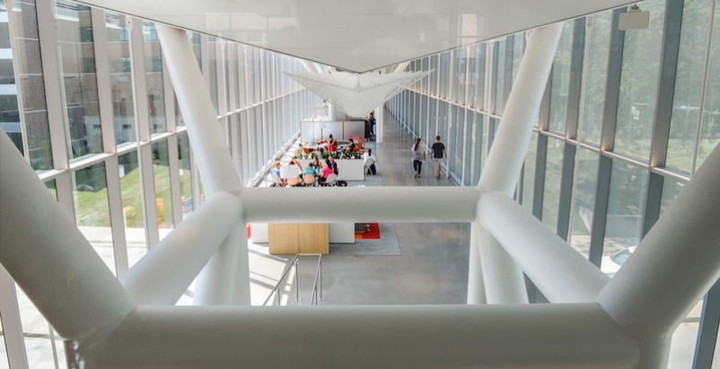 One of the corridors with student meeting space in the new Health Education Building