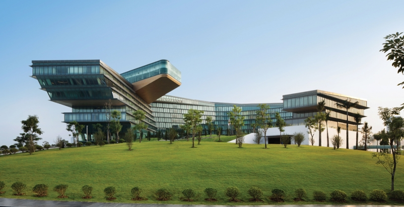 The JW Marriott Hanoi features an unusual cantilevered design, with a curled sha