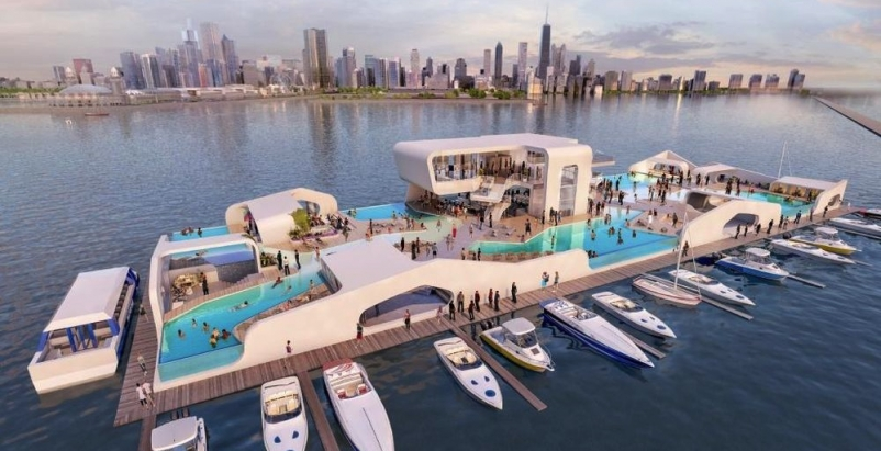 Breakwater Chicago releases renderings of floating Lake Michigan resort
