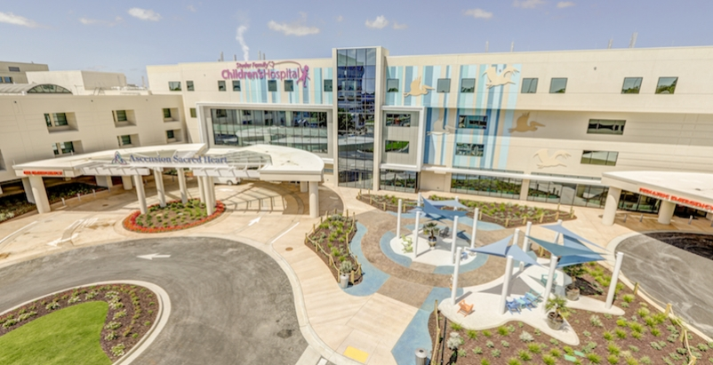Construction of new children's hospital addition in NW Florida had to weather several storms
