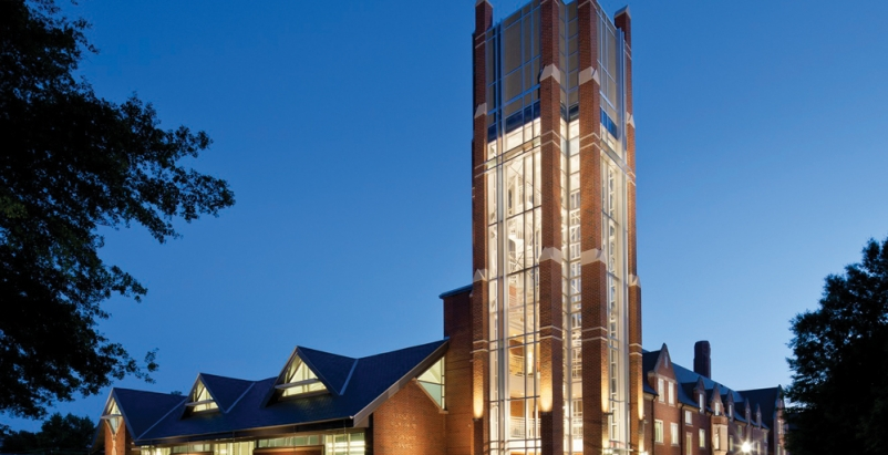 The tower at the Vernon S. Broyles Leadership Center unifies a new addition (lef