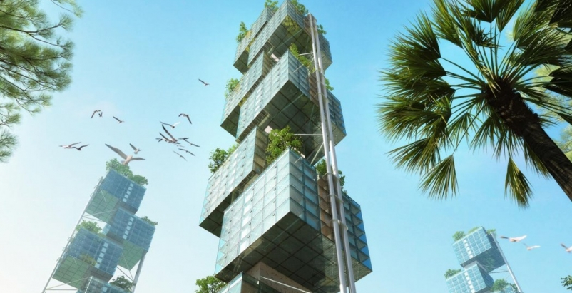 Prefabricated skycubes proposed with 'elastic' living apartments inside