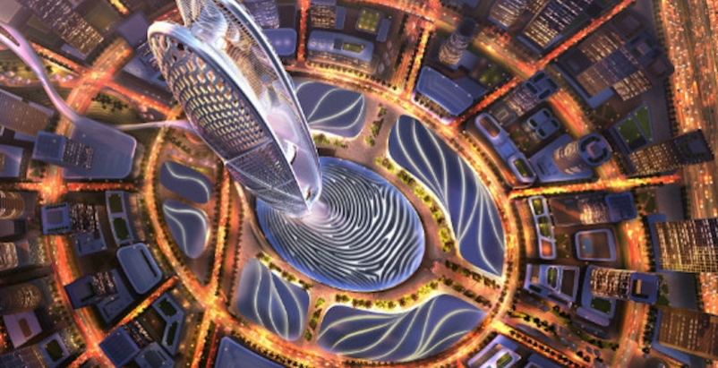 Looking down on the Burj Jumeira and the surrounding base and retail component