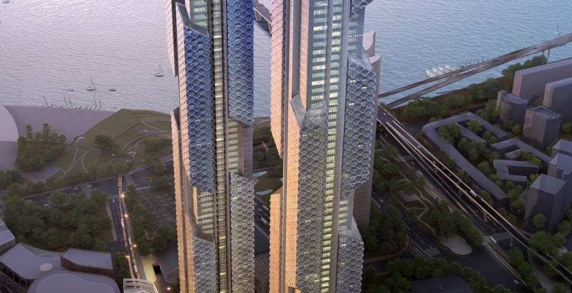 Towers 1 and 2about 450 meters and 390 meters tall, respectivelyshare an archi