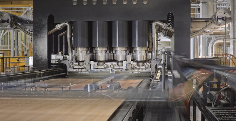 A machine in an EGGER wood manufacturing facility