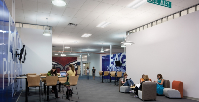 The design for Joplin Interim High  took advantage of large openings, oversized