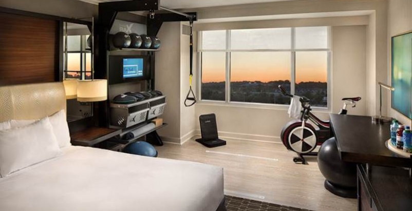 One of Hilton's new Five Feet to Fitness rooms