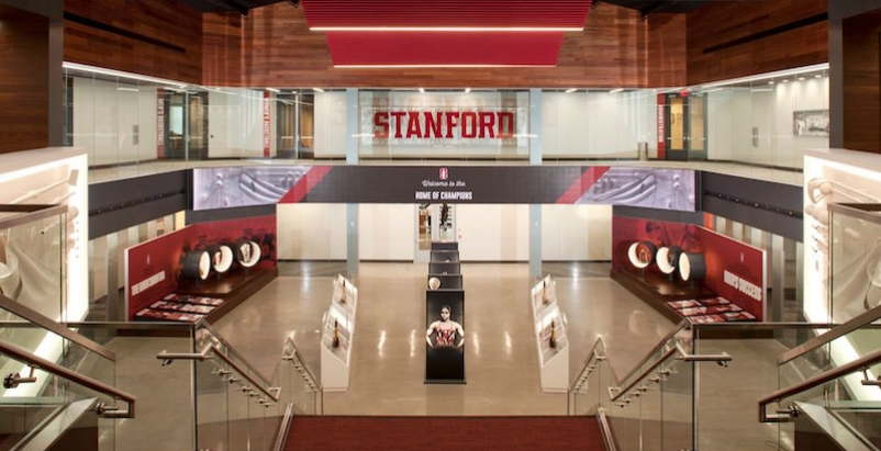 Looking downstairs in Stanford's Hall of Champions facility