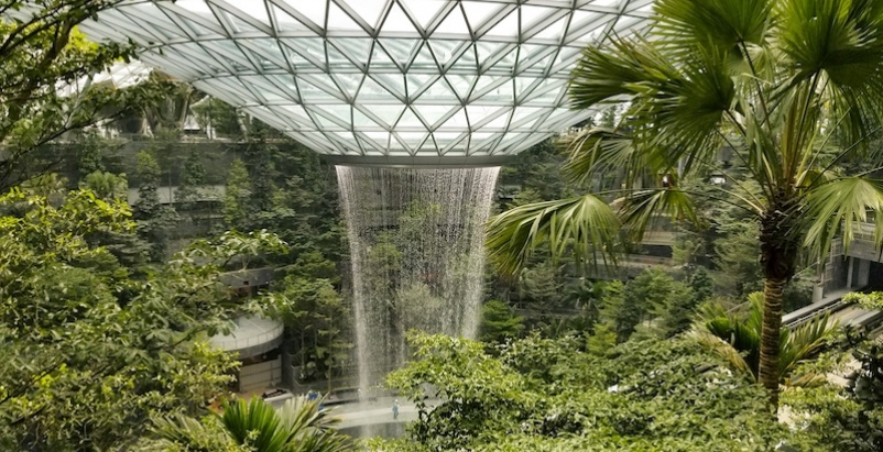The Rain Vortex indoor waterfall in the Jewel