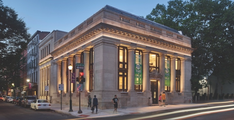 The 1906 bank's limestone façade and colossal engaged columns
