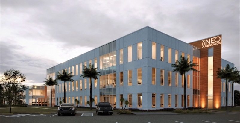 A rendering of the corporate headquarters for biotech firm NeoGenomics
