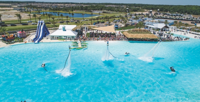 Water jet packs in a crystal lagoon