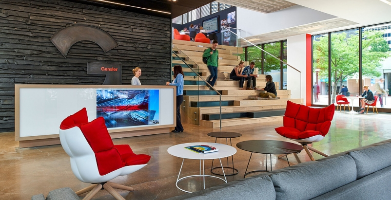 Gensler's Denver office lobby space. Photo courtesy Gensler