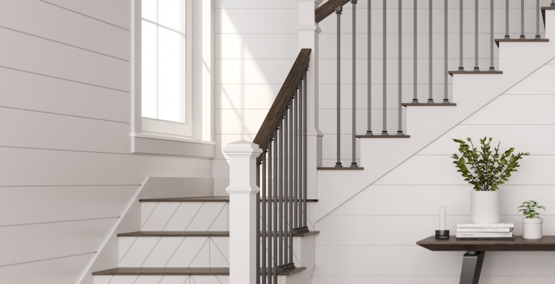 An ornamental stairway with LJ Smith Reversible Stair Risers.