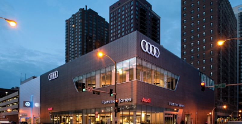 Chicago Car Dealership Accents Design With Textured Panels
