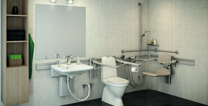 Accessible bathroom equipment encourages independence