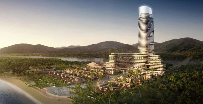 The complex will feature a 729-key resort hotel and serviced apartment tower, a