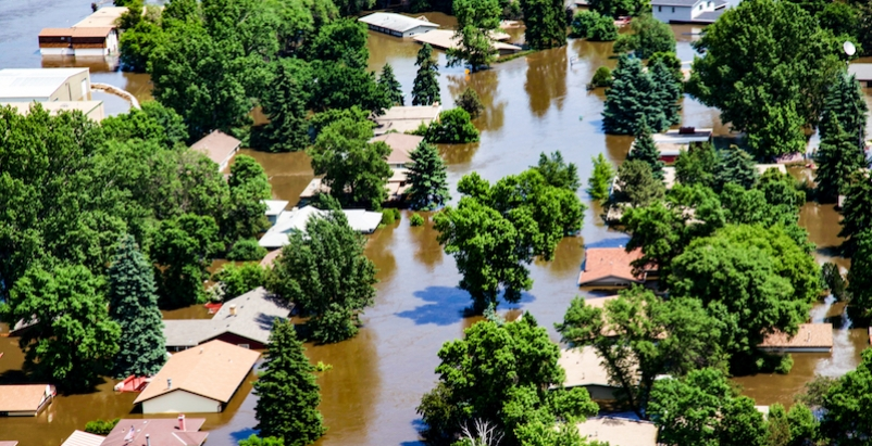 A flooded neighborhood