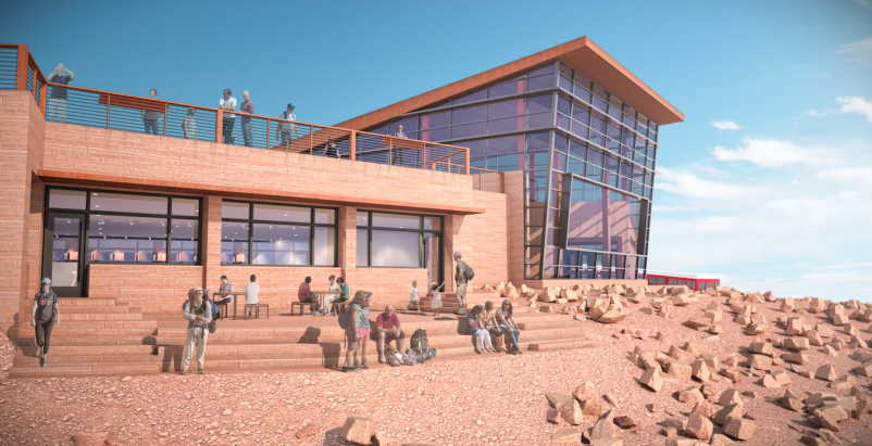 Pikes Peak visitor complex will appear carved into the mountainside, at 14,115 feet