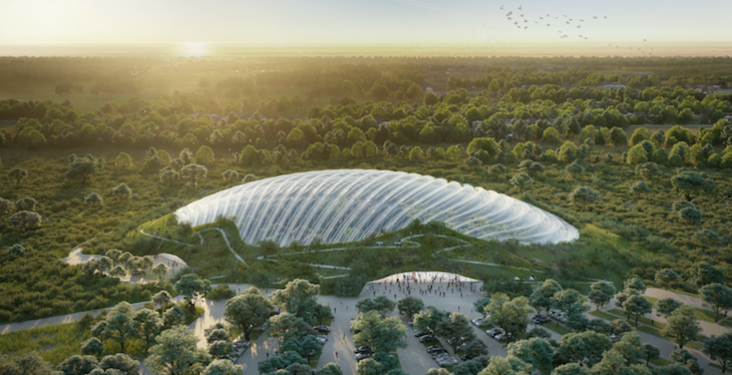 A rendering of what will become the world's largest single domed greenhouse