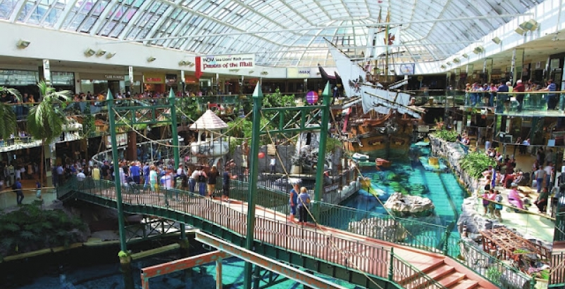 The West Edmonton Mall in Edmonton, Canada features a gross leasable space of 35