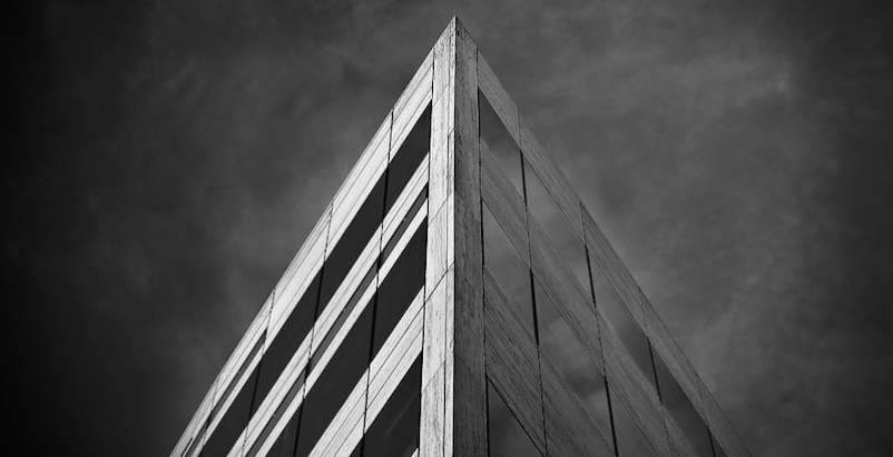 Corner of a building in black and white