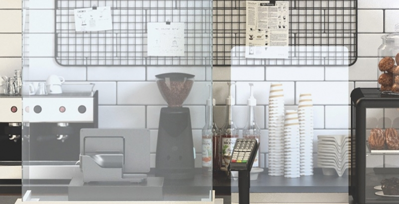Coffee kiosk with protective barriers