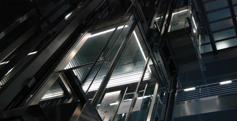 An glass elevator
