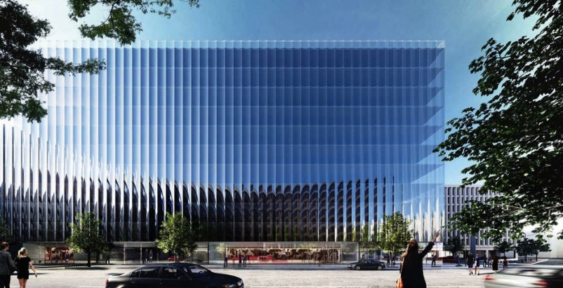 Curved glass curtains will give Washington, D.C., office building more views and floor space