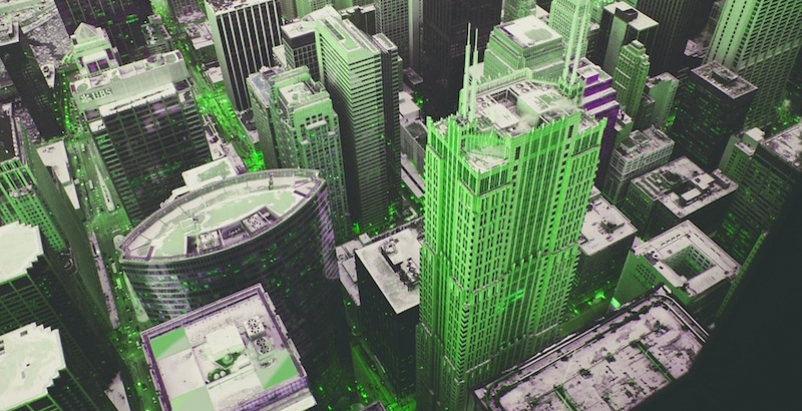 A city highlighted in green