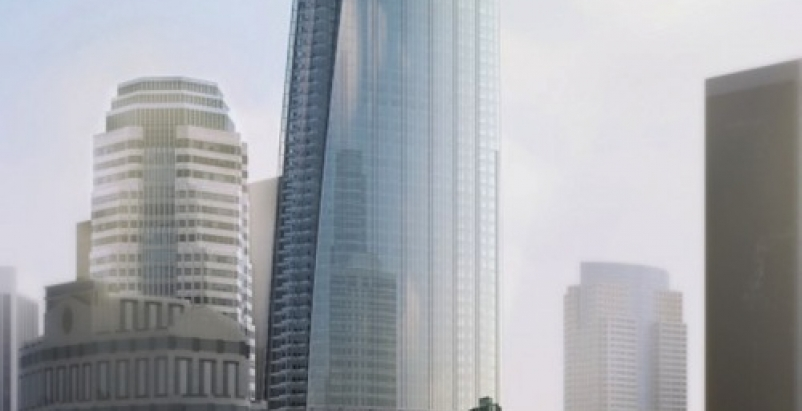 The glass faade of the new Wilshire Grand tower will incorporate LED lighting.