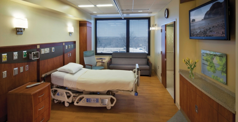 Single-bed inpatient rooms in the Hospitaller Pavilion at Palos Community Hospit
