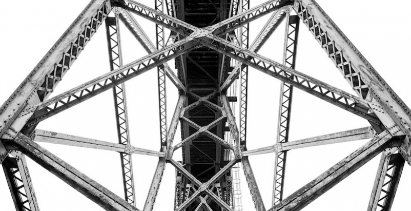 A steel bridge from underneath