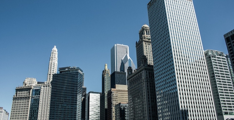 A cityscape of tall buildings