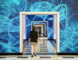 NBBJ acquires immersive technology design studio ESI Design Terrell Place in Washington, D.C., features 1,700-sf of motion-activated LED displays. Photo: Caleb Tkach courtesy EDI Design/NBBJ