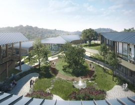 An aerial rendering of Ohana Center for Health