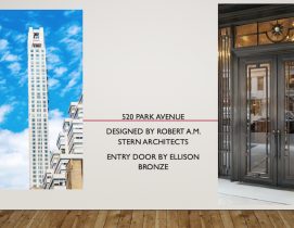 Ellison Bronze door at 520 Park Ave NYC, designed by Robert A. M. Stern Architects
