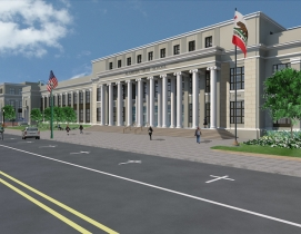 A rendering of the HIstoric Alameda High School, which recently reopened after a modernization that included seismic stabilization.