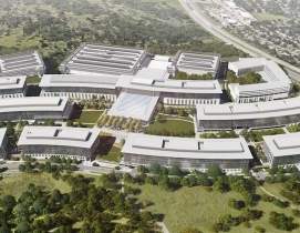 Aerial rendering of Apple's under construction Austin Campus