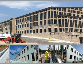 Howland Green Business Center – Finished photo with alternative photos showing the construction process featuring the Nudura XR35.