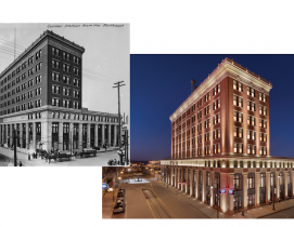 Central Station at its opening in October 1914 and the revitalized hotel in 2020